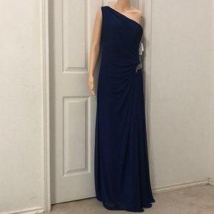 Alex Evenings Embellished Cape One-Shoulder Dress